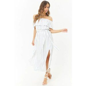 Forever 21 Striped Off the Shoulder Maxi Dress